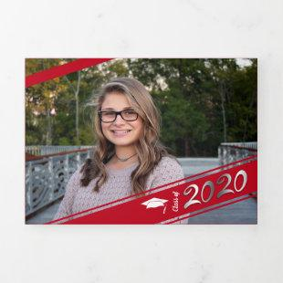 Graduation Multi Photo Simple Red Conffeti 2020 Tri-Fold Announcement