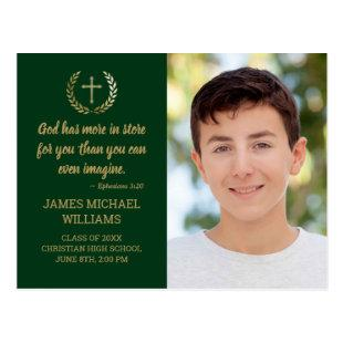 Graduation Party Bible Verse Photo Green Gold Postcard