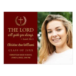 Graduation Party Bible Verse Photo Maroon Gold Postcard