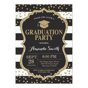 Graduation Party Black and Gold Glitter Invitation