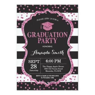 Graduation Party Black and Pink Glitter Invitation