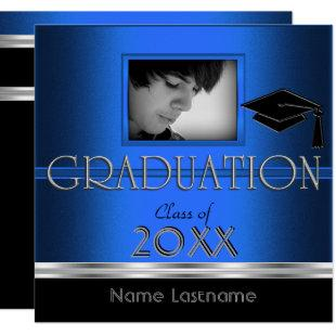 Graduation Party Black Silver Blue Photo Boy Male Invitation