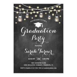 Graduation Party - Chalkboard Black White Invitation