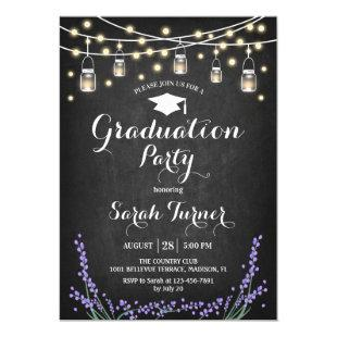 Graduation Party - Chalkboard Lavender Invitation