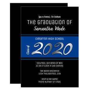 Graduation Party class of 2020 blue Invitation