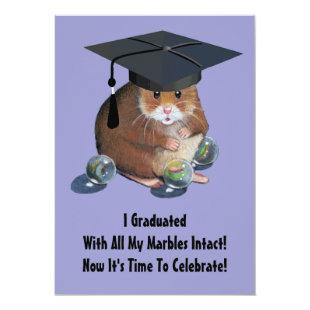 Graduation Party: Cute Hamster With Marbles, Cap Invitation