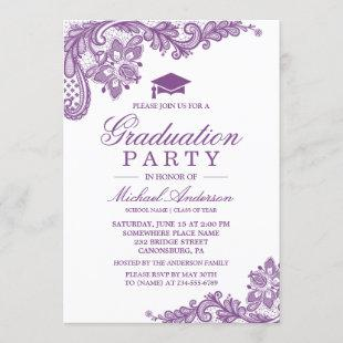 Graduation Party Elegant Lace Lavender Purple Invitation