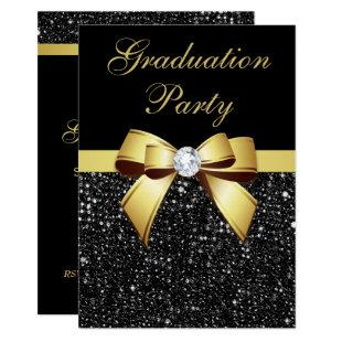 Graduation Party Faux Sequins Bow Black Gold Invitation