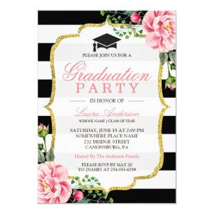 Graduation Party Floral Gold DIY Stripes Color Invitation