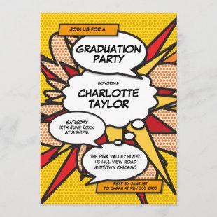 Graduation Party Fun Comic Modern Class of 2020 Invitation