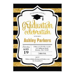 Graduation Party - Gold Black Stripes Invitation