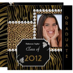 Graduation Party Gold Black White Leopard Zebra Invitation