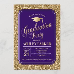 Graduation Party - Gold Purple Invitation