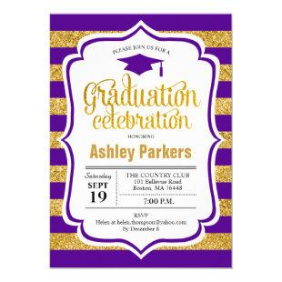 Graduation Party - Gold Purple Stripes Invitation