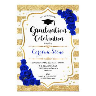 Graduation Party - Gold White Royal Blue Invitation