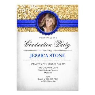 Graduation Party - Gold White Royal Blue - Photo Invitation
