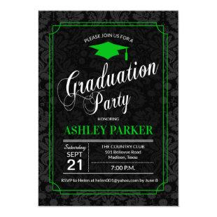 Graduation Party - Green Black White Damask Invitation