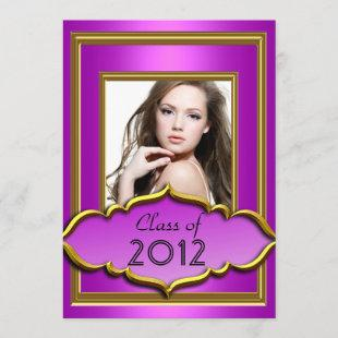 Graduation Party Hot Pink purple Girl Photo Invitation