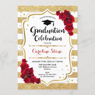 Graduation Party in Gold and White with Red Roses Invitation