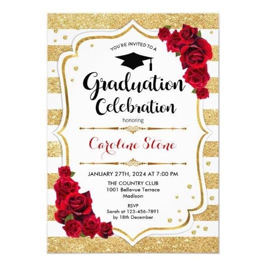 Graduation Party in Gold and White with Red Roses