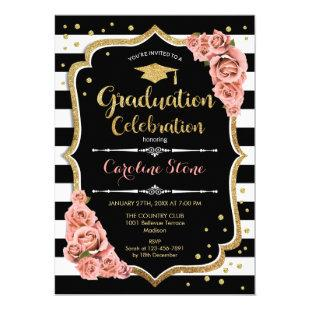 Graduation Party Invitation Black Gold Coral Pink