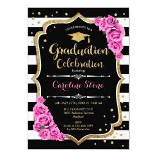 Graduation Party Invitation Black Gold Pink