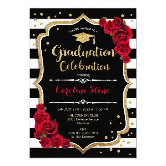 Graduation Party Invitation Black White Stripes