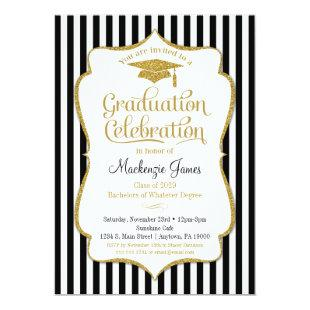 Graduation Party Invitation Elegant Black Gold