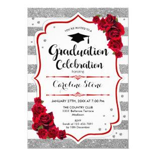 Graduation Party Invitation in Silver White Red