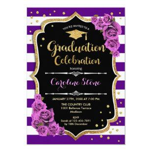 Graduation Party Invitation - Purple Gold
