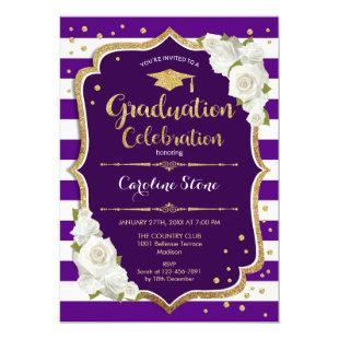 Graduation Party Invitation - Purple Gold White