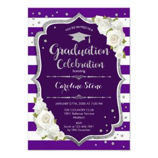 Graduation Party Invitation - Purple Silver White