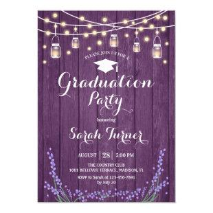 Graduation Party - Lavender Rustic Purple Wood Invitation