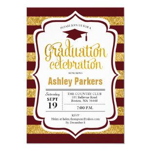 Graduation Party - Maroon Gold Stripes Invitation