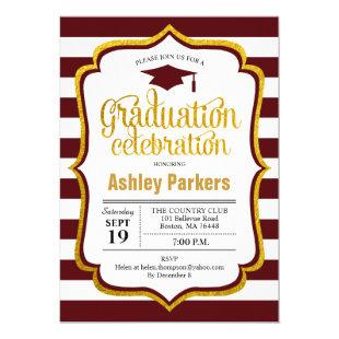 Graduation Party - Maroon Gold White Invitation