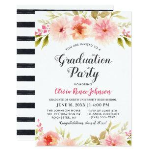 Graduation Party | Modern Pink Floral Stripes Invitation
