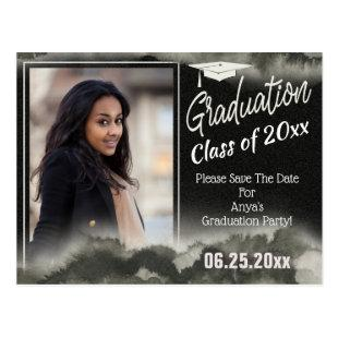 Graduation Party Photo Save The Date Watercolor Postcard