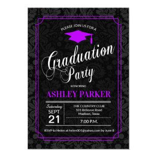 Graduation Party - Purple Black White Damask Invitation