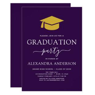 Graduation Party Purple Gold Modern Elegant Invitation