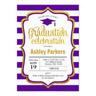 Graduation Party - Purple White Gold Invitation