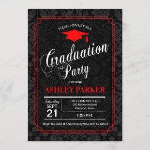 Graduation Party - Red Black White Damask Invitation