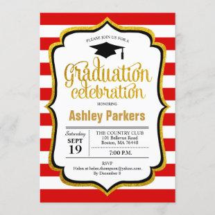 Graduation Party - Red Gold Black White Invitation