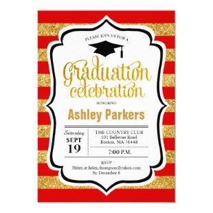 Graduation Party - Red Gold Stripes Invitation