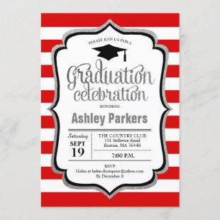 Graduation Party - Red Silver Black White Invitation