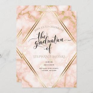 Graduation Party Rose Gold Marble Invitation