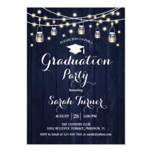Graduation Party - Rustic Navy Wood Invitation