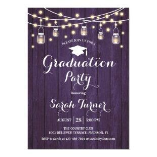 Graduation Party - Rustic Purple Wood Invitation