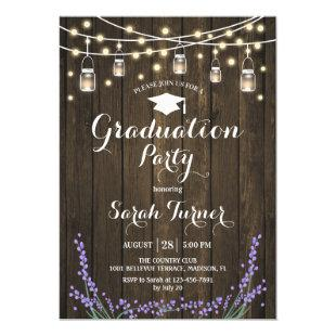 Graduation Party - Rustic Wood Lavender Invitation