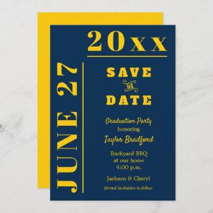 Graduation Party Save the Date Cards Blue Maize