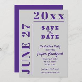 Graduation Party Save the Date Cards Gray Purple